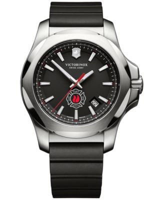 Victorinox Swiss Army Men's Swiss I.N.O.X. FDNY Black Rubber Strap Watch 43mm 249104
