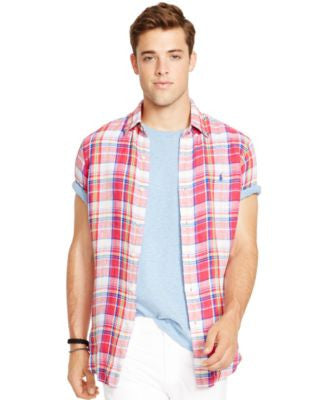 Polo Ralph Lauren Short-Sleeved Checked Linen Shirt
