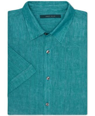 Perry Ellis Chambray Linen Short-Sleeve Button-Front Shirt