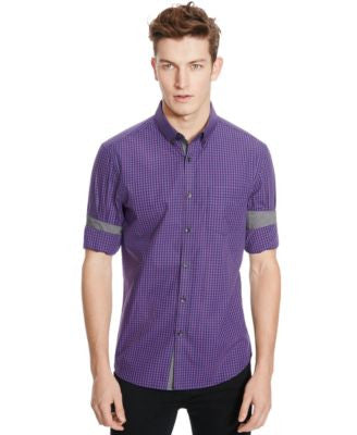 Kenneth Cole Reaction Slim-Fit Iridescent Check Shirt
