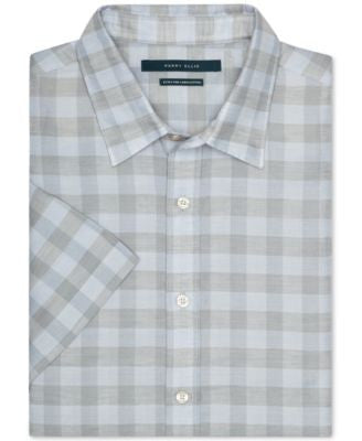 Perry Ellis Checked Button-Front Short-Sleeve Shirt