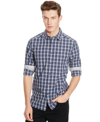 Kenneth Cole Reaction Checked Long-Sleeve Button-Front Shirt