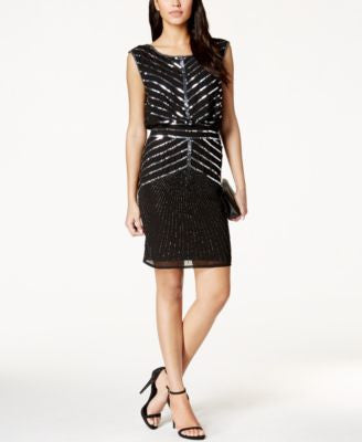 Adrianna Papell Embellished Blouson Dress