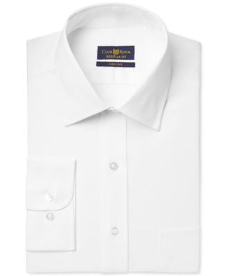 Club Room Estate Classic-Fit Wrinkle Resistant White Solid Dress Shirt, Only at Vogily
