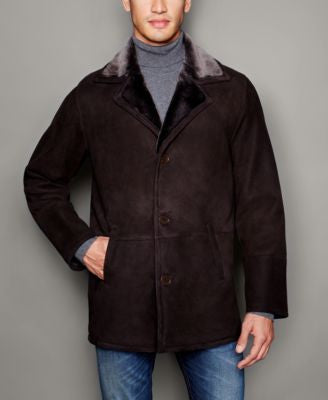 The Fur Vault Mens Shearling Lamb Notch-Collar Coat
