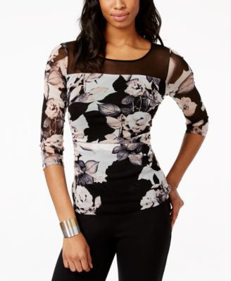 INC International Concepts Illusion Floral-Print Top, Only at Vogily