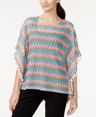 All @ Once Textured Fringe-Trim Poncho Top
