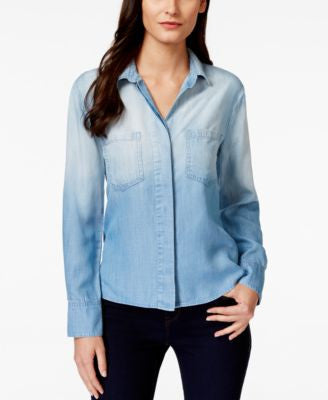 Olive + Sloane Ombre Split-Back Denim Shirt, Only at Vogily