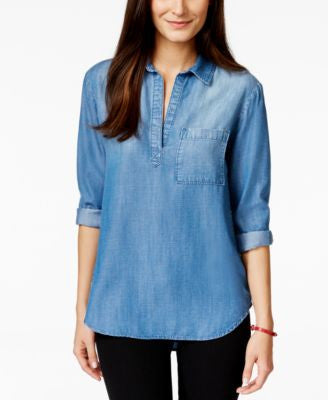 Olive + Sloane Pullover River Wash Denim Tunic, Only at Vogily