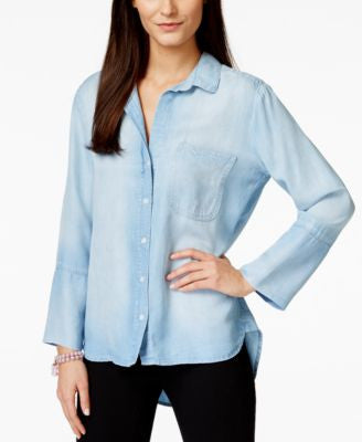 Olive + Sloane High-Low Light Mist Wash Denim Shirt, Only at Vogily