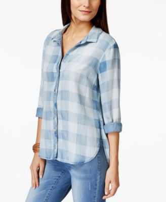 Olive + Sloane High-Low Gingham Denim Shirt, Only at Vogily
