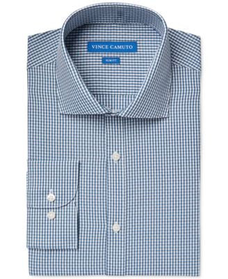 Vince Camuto Slim-Fit Petrol Dobby Gingham Dress Shirt