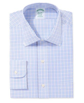 Brooks Brothers Milano Extra Slim Fit Non-Iron Light Blue Plaid Dress Shirt