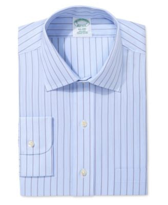 Brooks Brothers Milano Extra Slim Fit Non-Iron Light Blue Stripe Dress Shirt