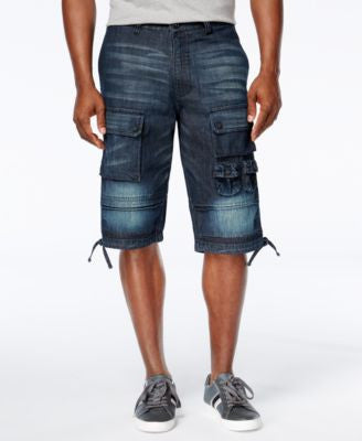 Sean John Men's Washed-Denim Flight Shorts
