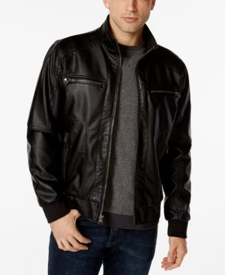 Calvin Klein Mens Faux-Leather Bomber Jacket