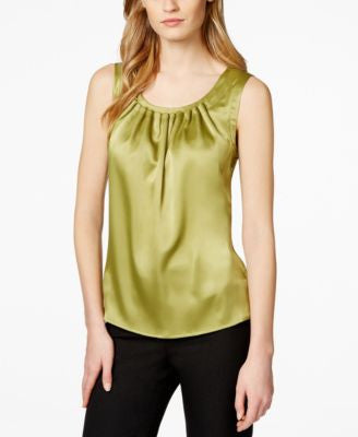 Kasper Petite Pleat-Neck Sleeveless Top