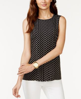 MICHAEL Michael Kors Polka-Dot Pleated Blouse