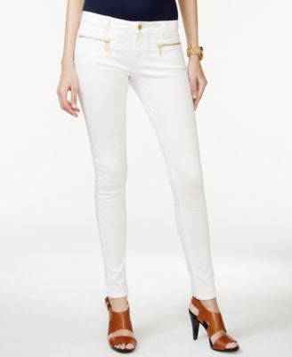 MICHAEL Michael Kors Zip-Pocket Skinny White Wash Jeans
