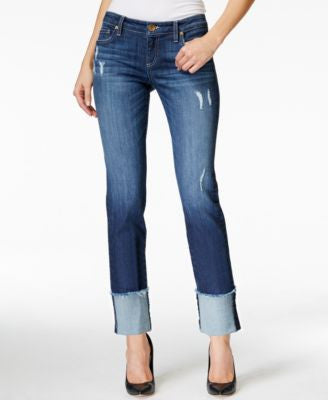 Kut From The Kloth Cameron Distressed Cuffed Boyfriend Hard Working Wash Jeans