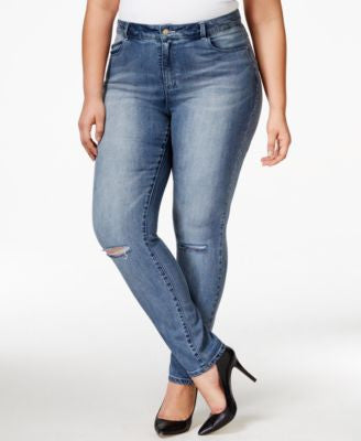 Nanette by Nanette Lepore Plus Size Caitlyn Ripped Cropped Jeans, Only at Vogily