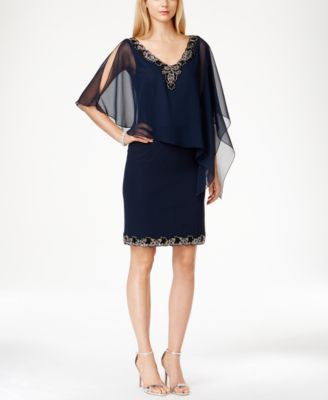 J Kara Chiffon Beaded-Trim Capelet Dress