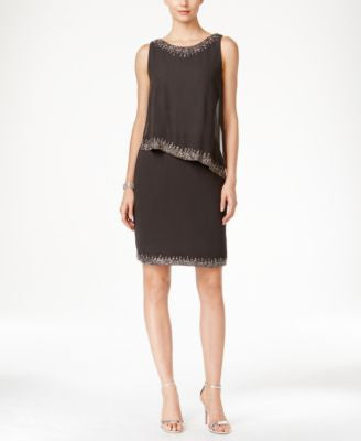 J Kara Beaded-Trim Popover Dress