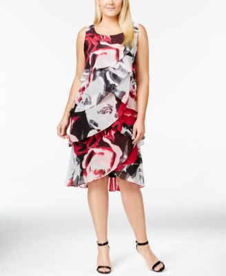 SL Fashions Plus Size Printed Tulip Tiered Chiffon Dress