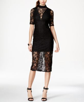 BCBGeneration Mock-Neckline Lace Dress