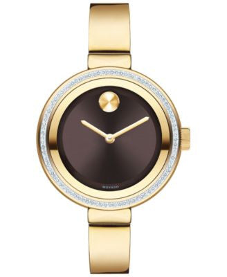Movado Women's Swiss Bold Diamond (3/10 ct. t.w.) Gold-Tone Ion-Plated Stainless Steel Bangle Bracel