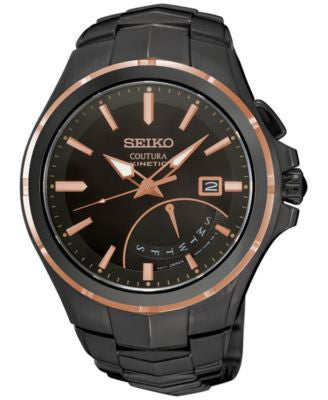 Seiko Men's Automatic Coutura Kinetic Retrograde Black Ion-Plated Bracelet Watch 43mm SRN066