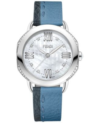 Fendi Timepieces Women's Swiss Selleria Diamond (1/4 ct. t.w.) Gray & Blue Leather Strap Watch 36mm