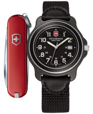 Victorinox Swiss Army Men's Swiss Classic Black Nylon & Leather Strap Watch & Knife Gift Set 43mm 24