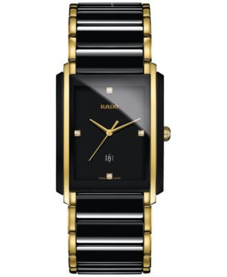 Rado Men's Swiss Integral Diamond Accent Black Ceramic & Gold-Tone Stainless Steel Bracelet Watch 31