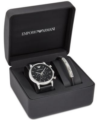 Emporio Armani Men's Chronograph Luigi Black Leather Strap Watch and Bracelet Set 46mm AR8029