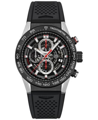 TAG Heuer Men's Swiss Automatic Chronograph Carrera Calibre Heuer 01 Black Rubber Strap Watch 45mm C