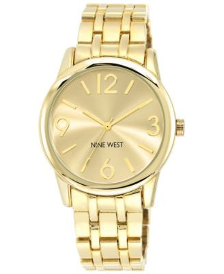 Nine West Women's Gold-Tone Adjustable Bracelet Watch 39mm NW/1578CHGB