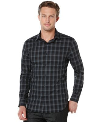 Perry Ellis Big and Tall Tonal Plaid Shirt