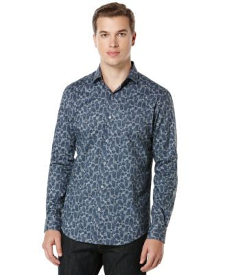 Perry Ellis Big and Tall Navy Rose Print Shirt
