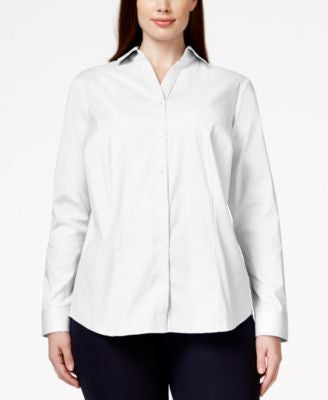 Charter Club Plus Size Button-Down Blouse, Only at Vogily