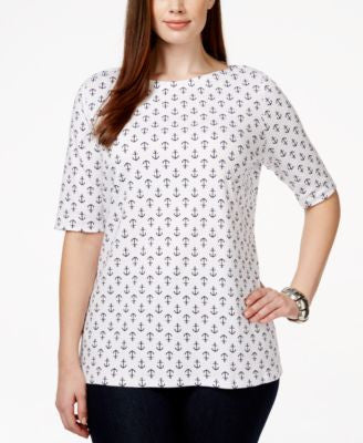 Charter Club Plus Size Printed Boat-Neck Top, Only at Vogily