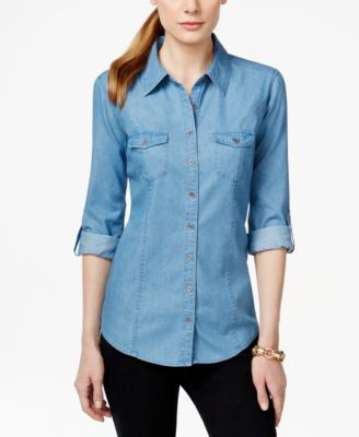 Style & Co. Denim Utility Shirt, Only at Vogily