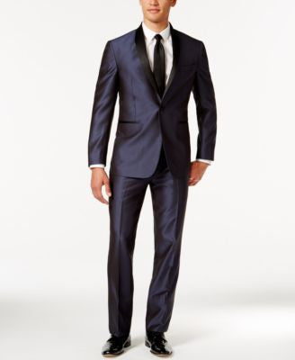 Kenneth Cole Reaction Blue Shawl Collar Slim-Fit Tuxedo
