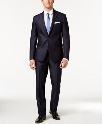 Kenneth Cole Reaction Navy Micro-Stripe Slim-Fit Suit