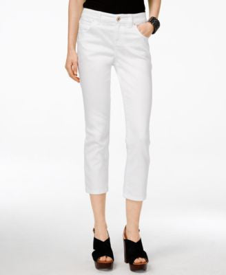 INC International Concepts Curvy-Fit Cropped White Wash Jeans, Only at Vogily