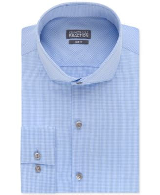 Kenneth Cole Reaction Slim-Fit Dry-Tek Performance Blue Topaz Micro Check Dress Shirt