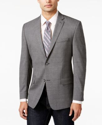 Marc New York by Andrew Marc Light Gray Plaid Slim Fit Sport Coat