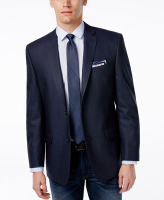 Marc New York by Andrew Marc Men's Blue Neat Slim-Fit Sport Coat