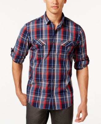 INC International Concepts Men's Guillaume Plaid Snap-Front Shirt, Only at Vogily