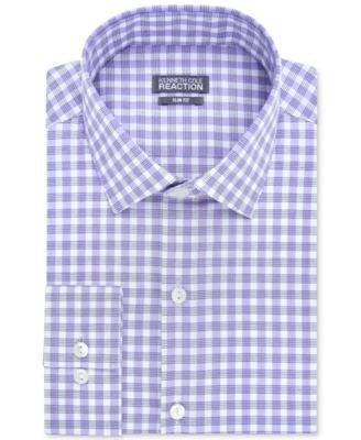 Kenneth Cole Reaction Slim-Fit Dry-Tek Performance Blue Violet Gingham Dress Shirt
